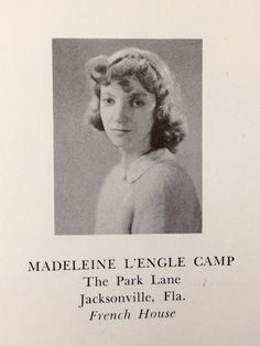 Madeleine L'Engle's Smith College Yearbook photo, 1941.