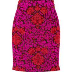 Mary Katrantzou Renzie flocked wool-blend jacquard mini skirt featuring polyvore women's fashion clothing skirts mini skirts magenta mini skirt pink mini skirt short skirts pink skirt wool blend skirt