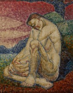 """Munn's """"Mother and Child,"""" (c. 1930, Art Gallery of Hamilton) reimagines the Virgin and Child composition with the mother as a monumental figure, heroic in her nudity, fully cradling the small child within her shape."""
