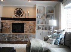 built-in shelves in family room, painted built-in shelves, installed hardwood floors, refaced fireplace. What do you think? any suggestion? please leave a comment, painted the built-in shelves   , Living Rooms Design
