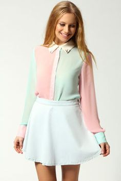 xxlittlepinkbowtiexx's save of Nicole Colour Block Embellished Collar Shirt on Wanelo