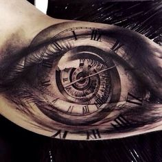 Time in our eyes tattoo . Wow so detailed!