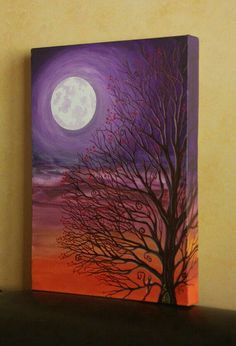 original painting purple fairy tree under the moon