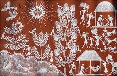 vrksa arts & crafts: warli street - indian traditional painting