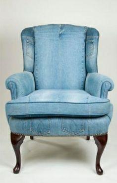 Merveilleux Denim Wing Back Chair   LegendBlues, Made In The U.S.A., Custom Denim  Wingback Chair