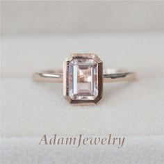 Solid 14K Rose Gold Morganite Ring 5x7mm Emerald Cut Morganite Bezel Setting | Jewelry & Watches, Engagement & Wedding, Engagement Rings | eBay!