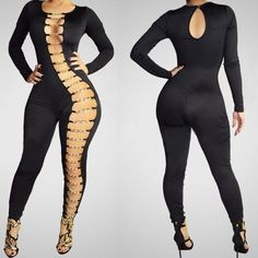 Sexy Metal Chains Hollow Out Long Sleeve Long Jumpsuit