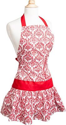 Classic Red Damask vintage apron    http://www.susannahskitchen.com/search?updated-max=2013-02-08T11:40:00-08:00=2