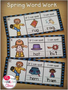 Spring CVC Word Work change medial sound to make a new word.