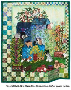 """Nine Lives Animal Shelter"" by Ann Horton.  1st place pictorial quilt. 2015…"