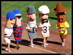 Sausage Race at a Brewers' Game, Miller Park, Milwaukee, Wisconsin