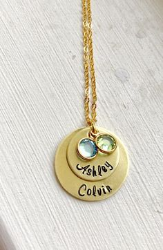 Personalized two layers names mom Gold Necklace w/crystal Gift Hand Stamped Washer Necklace, Gold Necklace, Pendant Necklace, Hand Stamped Necklace, Stainless Steel Necklace, Crystal Gifts, Gold Style, Pinterest Jewelry, Layers