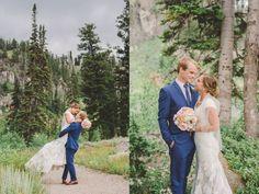 Tonys Grove Wedding Pictures | Tony's Grove Utah | Cache Valley Wedding Photographer | Logan Utah Wedding Photographer | Forest Bridals | Navy Suit, Ivory Dress, Wood Grooms Ring
