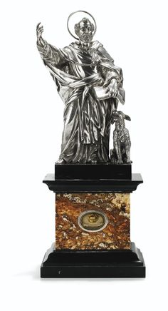 AN ITALIAN SILVER AND MARBLE RELIQUARY OF ST DOMINIC, MOST PROBABLY VINCENZO BELLI, (ROME), EARLY 19TH CENTURY