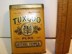 Tuxedo cayenne pepper tin spice tin by bullseyecollectibles, $27.50