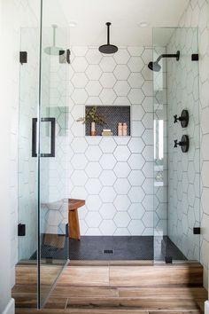 Bathroom Renos, Laundry In Bathroom, Master Bathroom, Bathroom Renovations, Bathroom Storage, Bathroom Shower Remodel, Master Shower Tile, Dark Gray Bathroom, Vanity Bathroom