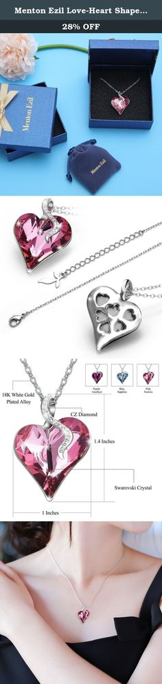 Menton Ezil Love-Heart Shape Pink Pendant Necklace Made With Swarovski Crystals Women Fashion Heart Jewelry Thanksgiving Gifts for Her. Jewelry Maintenance 1. Avoid any chemical corrosive. 2. Take it off before shower, swim or sport. 3. Do not wear it when sleep. 4. Prevent from strike or hard matter friction. 5. Store in box or cool dry place. About us Menton Ezil headquarter is located in Hong Kong and the brand is concentrate on fashion bracelets and sunglasses designed by Italian…
