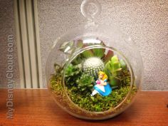 Take a terrarium and place the Disney collection miniature figure inside. Voila! a nice Disney scene great for gifts or own your desk.