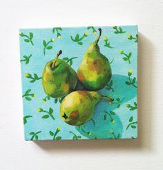 Still life of pears and flowers / Tiny canvas print -FOLK ART PRINT -blue yellow green Colors - canvas art print - Kitchen decor