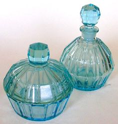 Depression Glass vanity Set Ice Blue Perfume Bottle and Powder Jar