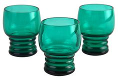 Emerald Shot Glasses, Set of 3 on OneKingsLane.com