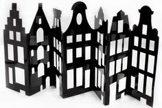 Deze leuke uitvouw reeks van Amsterdamse gevelhuisjes zijn verkrijgbaar in dag (wit) en nacht (zwart). Leuk om weg te geven of als aandenken aan Amsterdam.