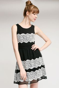Surprise Party Sleeveless Contrast Lace Dress in Noir
