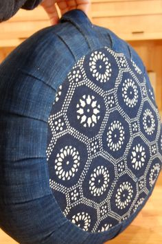 Zafu, indigo fabric with kaleidoscope pattern