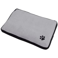 Medium rectangular pet bed with embroidered paw detail. Measures 75cm x 50cm x 10cm approx.