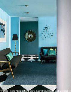 un petit salon bleu vintage - Salon Bleu Vintage