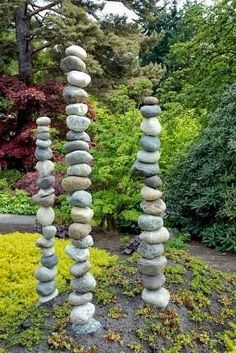 Stones drilled through center and stacked with rebar running through the center | Outdoor Areas