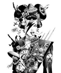 Ballpoint Pen Illustrations by Shohei Otomo #EasyNip