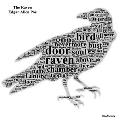 This picture is a wordle of the poem. The most frequently used words are manipulated in a way that they create a picture of the title of the poem- a raven. You can see the repetition of words the author used to highlight the mood and theme of the poem.
