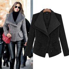 Woolen Coat 2016 New Women Cashmere Coat Long Sleeve Turn-down Collar Solid Slim Zippers woollen Overcoat Femininos Spring