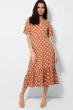 White Polka Dot Brown Ruffle Hem Wrap Maxi Dress – SinglePrice