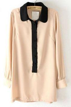 Khaki Contrast Lapel Long Sleeve Chiffon Blouse -  18.49€