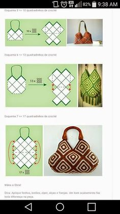 Hoje vim trazer uma bolsa para mulheres praticas, t. Crochet Patterns Bag Edna Confections Crochet: Double Crocheted Crochet Bag with Graph Pic is crochet, but the diagrams would work for knits or sewn fabric also. Crochet Diy, Crochet Hook Set, Crochet Tote, Crochet Handbags, Crochet Purses, Crochet Granny, Crochet Crafts, Crochet Projects, Purse Patterns