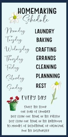 A stay at home homemaker is more than just a cleaning lady. Your schedule should have more than just cleaning tasks! Use this article to help you develop a schedule that encompasses all aspects of homemaking: laundry, planning, baking, and YES. Deep Cleaning Tips, House Cleaning Tips, Cleaning Solutions, Spring Cleaning, Cleaning Hacks, Cleaning Schedules, Laundry Schedule, Cleaning Lists, Weekly Cleaning