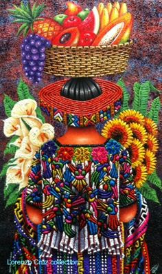 CRUCITA GUTIÉRREZ SEGOVIA: MY FRIENDS PAINTERS - LORENZO CRUZ Mexican Artwork, Mexican Paintings, Mexican Folk Art, Folk Embroidery, Embroidery Patterns, Guatemalan Art, Bordado Popular, Latino Art, Mexico Art