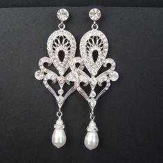 Art Deco Style Bridal Chandelier Earrings, Statement Wedding Earrings, Long Vintage Style Bridal Earrings, Pearl Drops, MARISSA