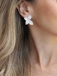 Primrose Statement Earrings | Floral Fashion Jewelry – Olive + Piper Wedding Earrings Drop, Bride Earrings, Heart Earrings, Diamond Earrings, Stud Earrings, Silver Earrings, Silver Jewelry, Beaded Jewelry, Gold Necklaces