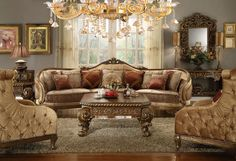 Homey Design HD-458 Traditional Vienna Wood Trim Mansion Sofa and Chairs #HomeyDesign