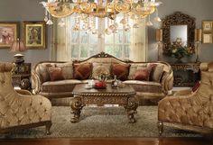 Homey Design HD-458 Traditional Vienna Wood Trim Mansion Sofa and Chairs #HomeyDesign