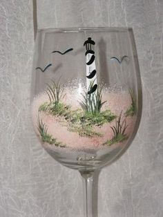 Lighthouse Hand Painted Wine Glasses by TheGardenPot999 on Etsy, $18.00 by carlani