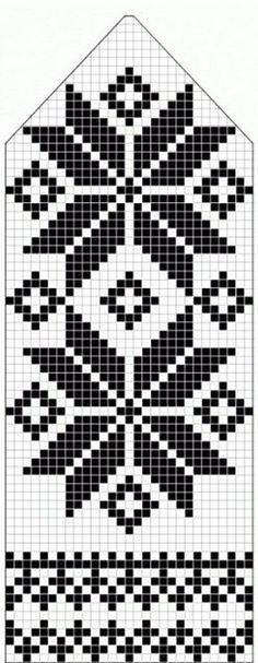 northern star / snowflake motif ~~ knitted mitten pattern ~~ also filet crochet