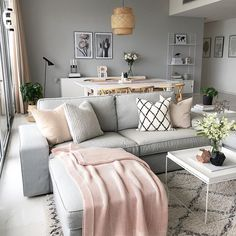 Gray, white and blush pink all over. Love this modern boho living dining combo room. Blush Living Room, Boho Living Room, Living Room Decor, Gray Living Rooms, Living Room And Bedroom Combo, Modern White Living Room, Living Spaces, Room Interior, Interior Design Living Room