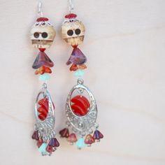 OOAK  Day of the Dead Catrina Earrings   Yak by blackpersimmons, $45.88
