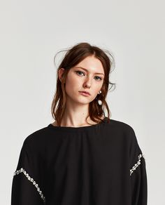 ZARA - TRF - LONG SLEEVE TOP WITH FAUX PEARL DETAIL