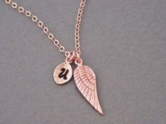 Memory Necklace in Rose Gold Angel Wing Necklace by BeautifulAsYou