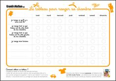 Tableau pour aider les enfants à gérer le rangement de leur chambre